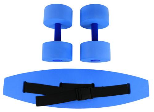 CanDo¨ aquatic exercise kit, (jogger belt, hand bars) medium, blue