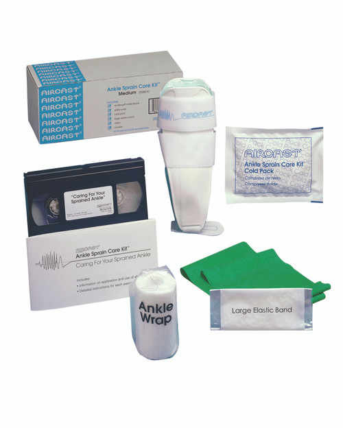Ankle Sprain Care Kit with AirSport¨ Brace (small/left), exercise band, cold pack, wrap, DVD