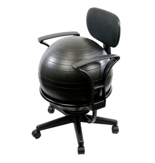 "CanDo¨ Ball Chair - Metal - Mobile - with Back - with Arms - with 18"" Ball"