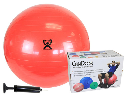"""CanDo¨ Inflatable Exercise Ball - Economy Set - Red - 30"""" (75 cm) Ball, Pump, Retail Box"""
