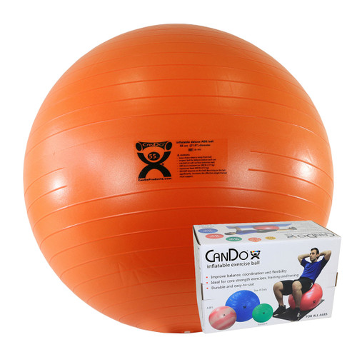 """CanDo¨ Inflatable Exercise Ball - ABS Extra Thick - Orange - 22"""" (55 cm), Retail Box"""
