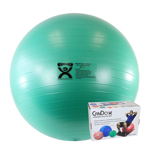 """CanDo¨ Inflatable Exercise Ball - ABS Extra Thick - Green - 26"""" (65 cm), Retail Box"""