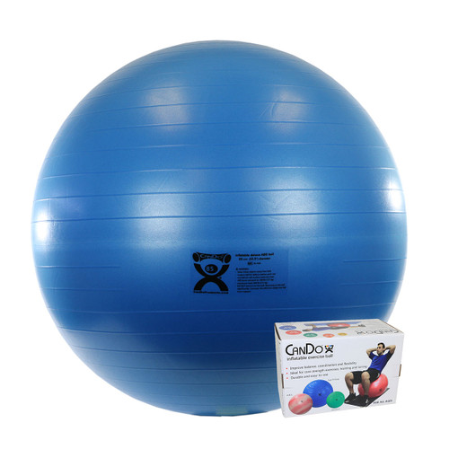 """CanDo¨ Inflatable Exercise Ball - ABS Extra Thick - Blue - 34"""" (85 cm), Retail Box"""