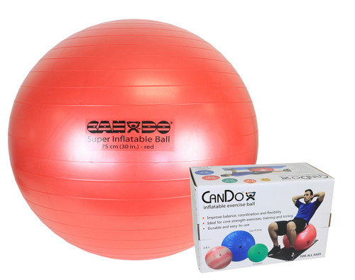 """CanDo¨ Inflatable Exercise Ball - Super Thick - Red - 30"""" (75 cm), Retail Box"""