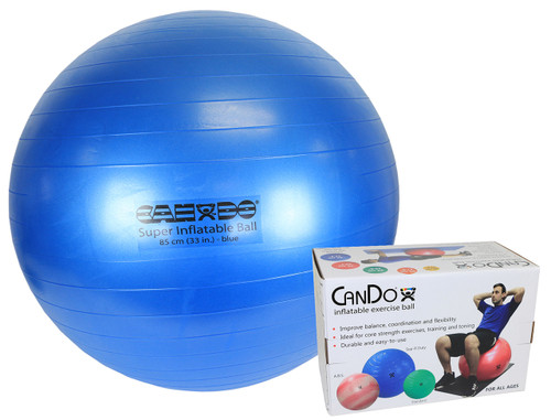 """CanDo¨ Inflatable Exercise Ball - Super Thick - Blue - 34"""" (85 cm), Retail Box"""