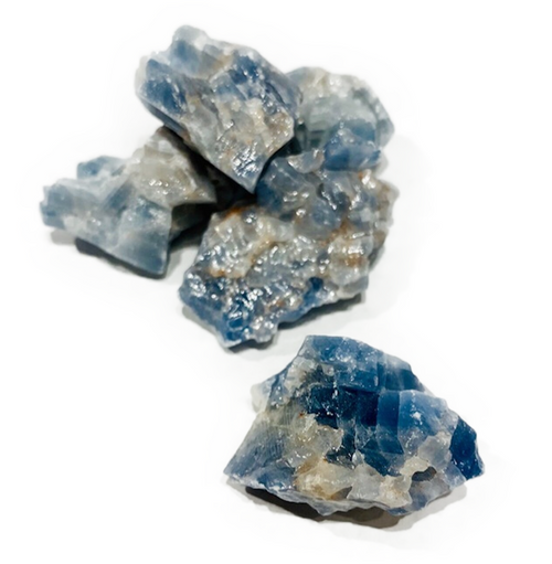 Raw Blue Calcite 20-30g average. Excellent stone for calming. Assists in retaining knowledge. Amplifies learning. Size will vary.
