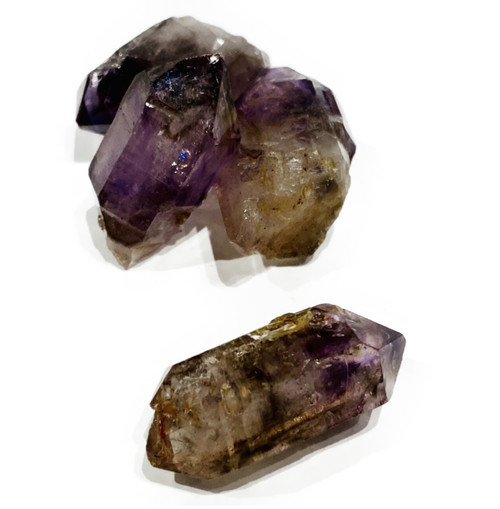 Rare natural Brandberg Amethyst Point. Amethyst, Smokey Quartz and Clear Quartz matrix.