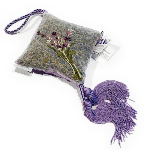 Lavender hanging sachet with embroidered flowers.