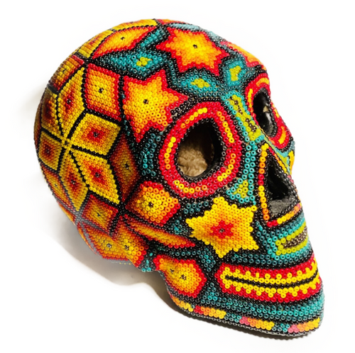 One of a kind, handmade, Native America, Wixarika (Huichol), Tepehuano or Mixecco family, beaded skull. Includes certificate of authenticity.  6.5 x 3.5 x 4in