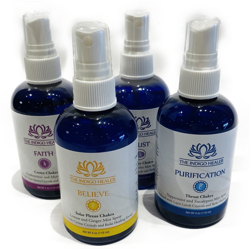 The Indigo Healer. Infused crystal and essential oil mist. Ingredients: Purified water, essential oil, vegetable glycerin, Reiki healing energy, crystals. Made in USA
