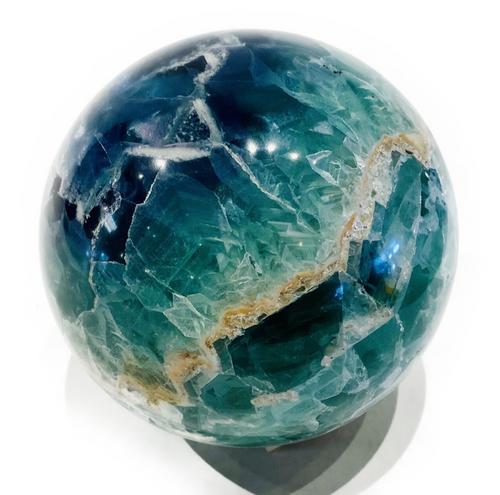 Premium Fluorite 4.35kg sphere. Enhances ability to meditate. Increases psychic ability & brings spiritual peace.