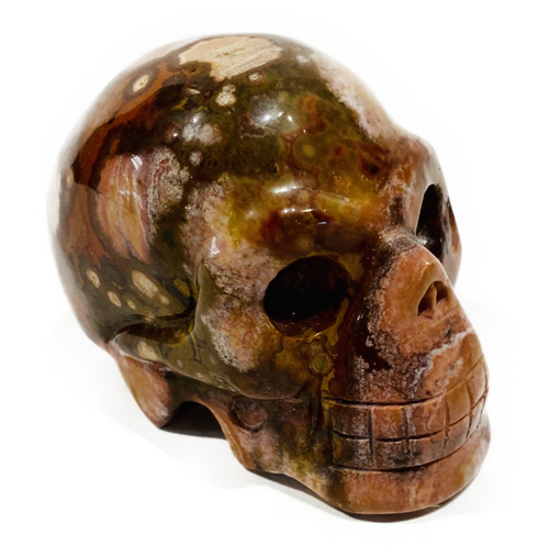 Hand carved crystal skull .27kg. Assists in nurturing, happiness & Peace. Stone of unconditional love.