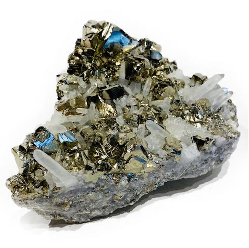 Premium Pyrite & Clear Quartz in matrix. 1.4kg  Pyrite: Intellect & Protection/Good Luck & Good Fortune  Clear Quartz: Healing