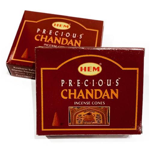 Hem Chandan Cones Incense. 10 cones with small metal burner included.