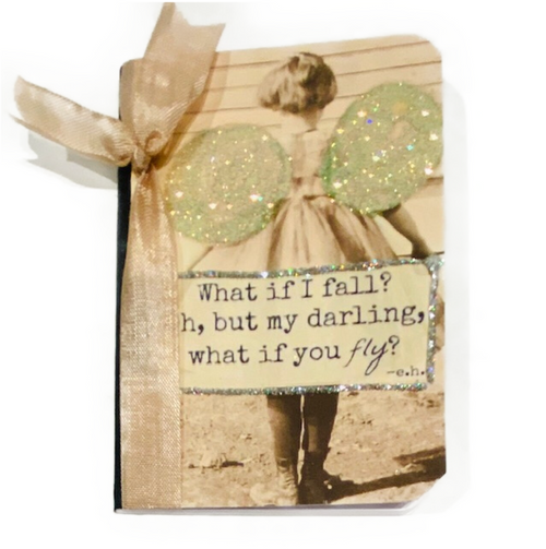 """Hand glittered cover mini 4.5"""" journal. 48-lined pages."""