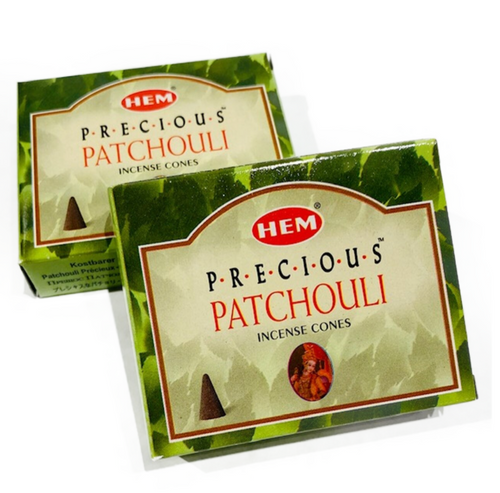Hem Patchouli Cones Incense. 10 cones with small metal burner included.