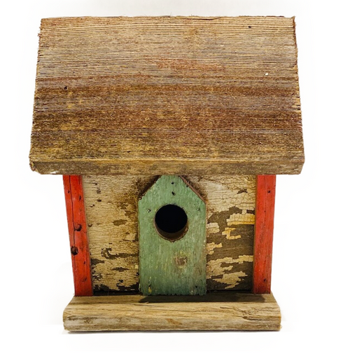 Functional birdhouse comprised of vintage wood. Suitable for interior decorative use or practical outdoor enjoyment. Due to unique nature of this item, color of house may vary slightly.