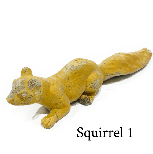 Vintage squirrel #1. Please view photos to notice age imperfections. Pre-1950's. Note: any breaks in the concrete are reinforced by steel rods within the statue.