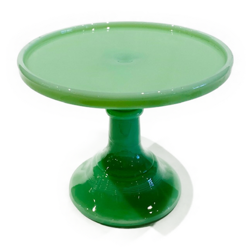 """Mosser Glass cake stand. Actual flat surface of stand top is 6"""". Jadite (lt. green)"""