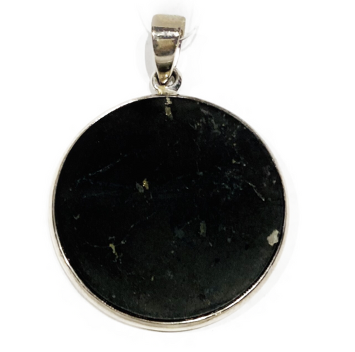 "1.25"" flat Shungite charm set in sterling silver bezel. Shungite: ""Miracle stone"", ""Stone of Life"", known for its incredible healing and protective properties. Assists with protecting from harmful EMF's, detoxification and purification of the body."