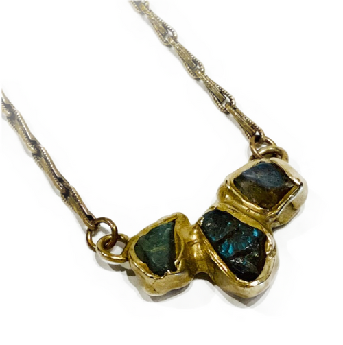"Handcrafted necklace by NY jeweler, Emillie Shapiro. Brass metal with custom chain and clasp. 2-lengths: 20"" or 18"" using convenient jump ring on chain. Made in USA. Labradorite: Confidence in Self"