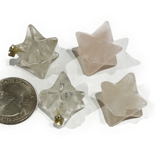 Crystal 18mm Merkaba charm. Available in rose quartz or as a charm in clear quartz. Rose Quartz: Self Love/Love Clear Quartz: Healing