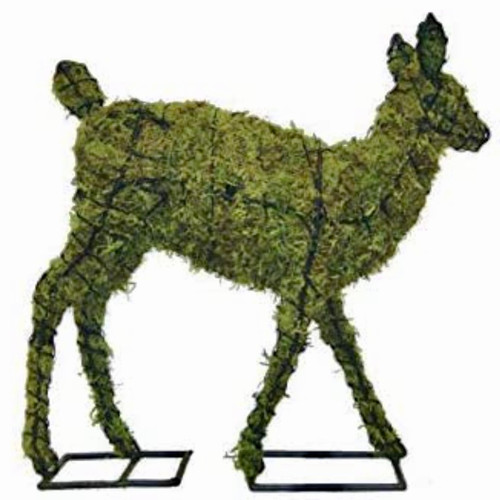 Sphagnum moss filled wire garden statue.  Simple assembly with cinch straps included