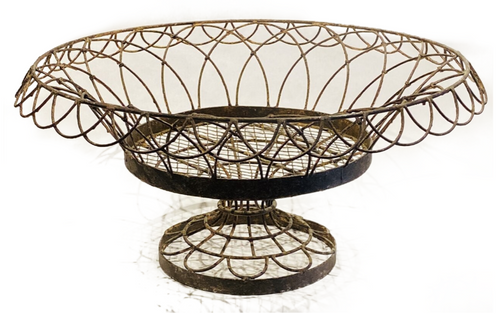"""""""Vintage Style"""" French wire pedestal basket. Suitable for interior or exterior use. PICKUP ONLY"""