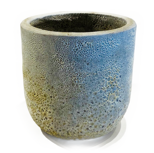 """Antiqued finish, glazed ceramic pot. Drainage hole at bottom. 9.5"""" interior. Suitable for interior or exterior use. PICKUP ONLY ITEM."""