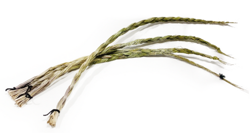 """Natural sweet grass braid. Note: actual length is: 24"""" (other measurements shown are for shipping purposes). Seneca grass or Holy grass has a sweet """"vanilla-like"""" scent symbolizing the breath of Earth Mother and bringing blessing to Earth. Reminds one of the essence of the feminine. Symbolizes: Healing, peace and spirituality in many Native cultures."""