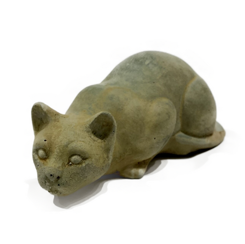 """Concrete tiny 7.75"""" crouching kitten . Suitable for interior or exterior use. Made in USA"""