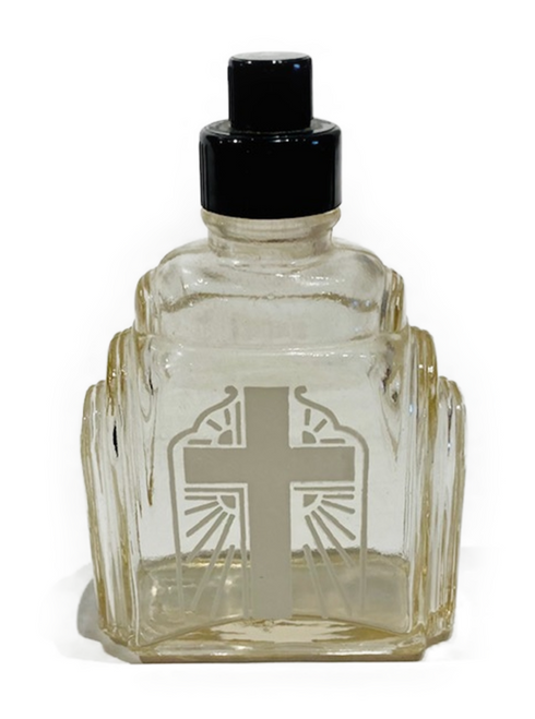 Vintage c.1930 Art Deco style holy water bottle. Original. Water stained interior, but overall in excellent condition. Stamped: 4 and a Pennsylvania Keystone on bottom of glass.