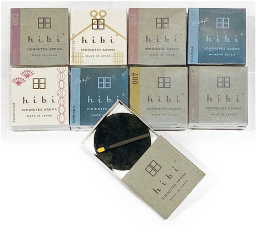 """Premium Japanese Incense. 8 sticks per box. Includes heat resistant """"mat"""" to burn incense. Simply strike incense stick on side of box, let flame gently go out and place it upon the designated mat. 10 minutes of fragrance. Made in Japan."""