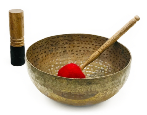 Handmade Full Moon Singing Bowl. 2.08kg Includes 2 mallets. Note: Tuned to E (Solar Plexus Chakra)