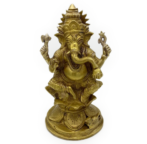 Beautiful Indian brass cast Ganesha. Ganesha: Hindu god of beginnings. Patron of intellectuals, bankers and authors. Remover of obstacles.