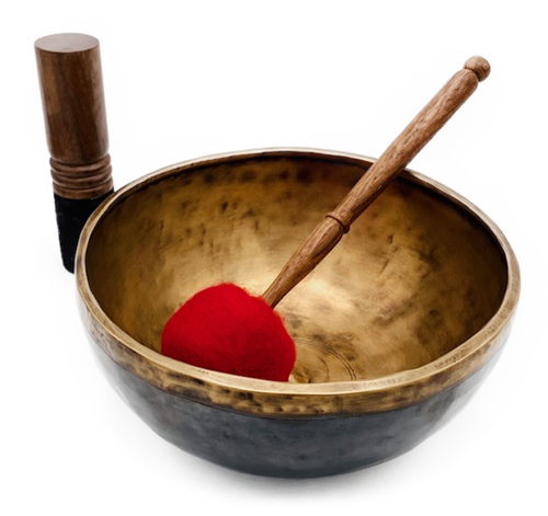 Handmade metal composite Lingam singing bowl. 1.82kg. Includes 2 mallets. Note: Tuned to F (Heart Chakra)