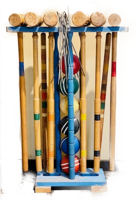 Vintage croquet sets. Some wear due to age, but mallets are undamaged. Sets have end posts, balls and wickets. Sets may have mix-match items, ie: missing ball was substituted with a similar era item. Great condition for their age. Note: This item is PICKUP ONLY due to size. Please choose set preference from images.