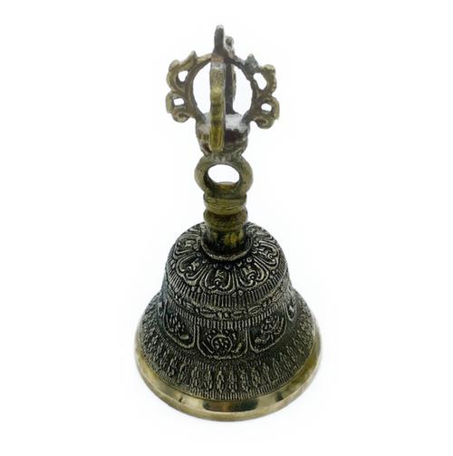 "4.5"" Bronze hand bell. Tibetan. 8 Auspicious Signs Carved."