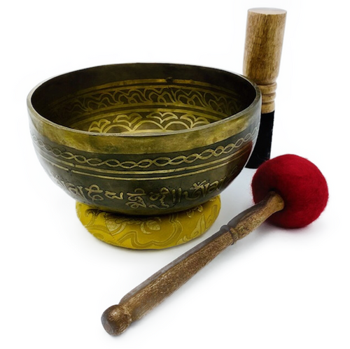 "8"" Brass singing bowl with sacred geometry symbol. Two mallets included. Tuned to ""F"" Heart Chakra"