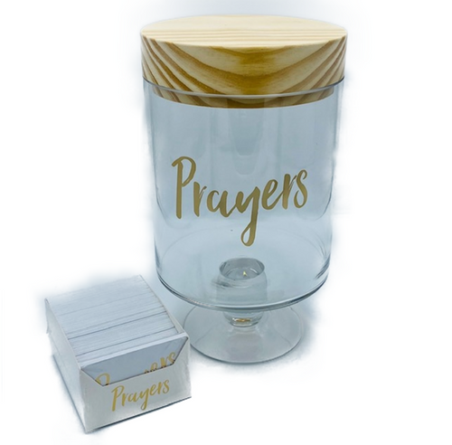 Unique handcrafted glass pedestal jar with wood lid. Includes over 200 individual cards for personal messages. Packaged within an attractive gift box.