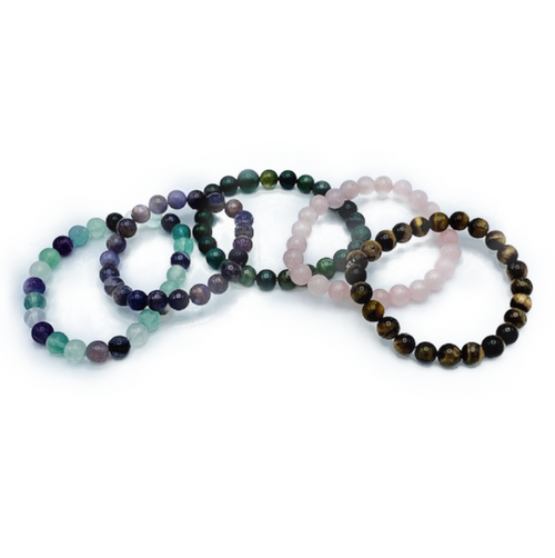 Genuine crystal polished beads strung on elastic band. One side fits all. Unisex