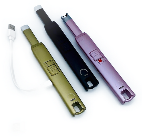 Non-disposable USB lighter. Eco-friendly. Butane Free. Rechargeable. Easy to use. Up to 300 lights per charge. Gas appliance safe. Includes: charging cable and instructions.
