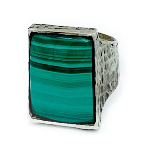 Handmade sterling silver ring with polished, premium Malachite stone setting. Size 12 (additional size options available upon request). Made in Los Angeles Malachite: Stone of transformation & Love. Good fortune & abundance.
