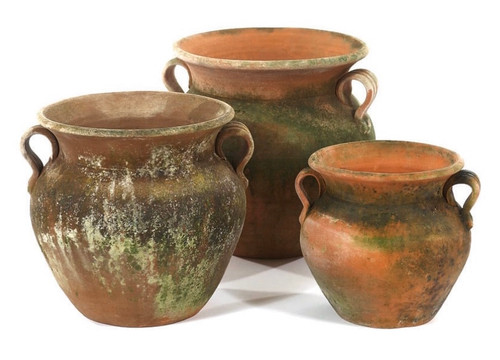 Naturally mossed terra-cotta. Once planted, these pots will continue to produce a mossed exterior. Drainage hole. Note: This item is pick-up only. Large and medium size shown are only available at this time.