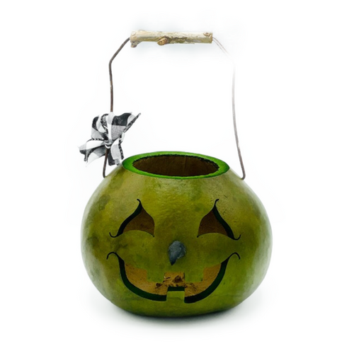 """Our Aum holiday tradition...Handmade in Carlisle, Pennsylvania. """"Ms. Witch Basket"""" is an actual dried and preserved gourd. Gourds are flammable. DO NOT PUT NEAR an open flame. May be illuminated using a battery operated tea light (NOT INCLUDED)."""