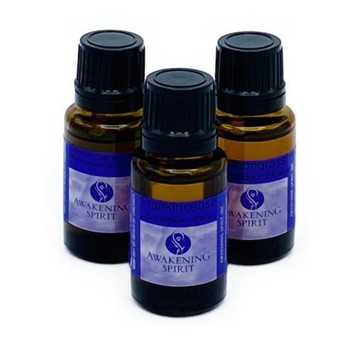Awakening Spirit Essential Oils. .5oz glass bottle. All oils are pure, natural and undiluted. We recommend that you familiarize yourself with the safety precautions prior to using essential oils.