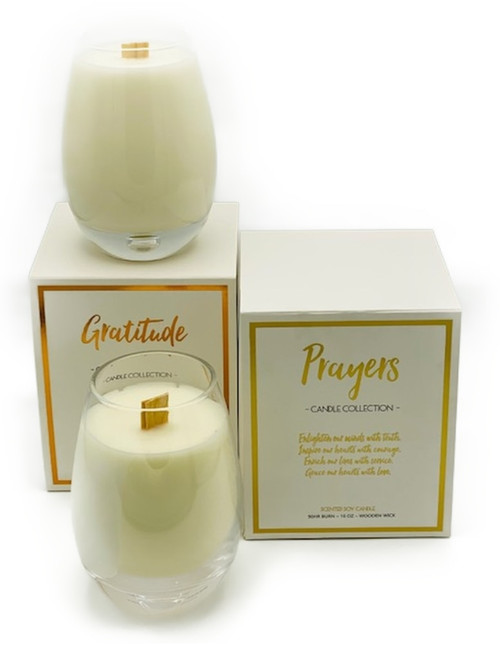 90h burn time, 16oz pure soy wax, wooden wick candle. Made in USA