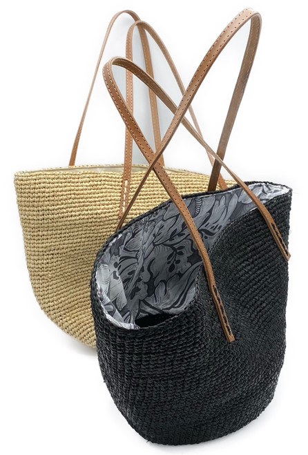Shown in Natural or Black. Handcrafted in Madagascar. Handwoven from natural fiber raffia or sisal & hand dyed. Fitted with a pattern lining*. Fair Trade. *Please allow us to choose the pattern lining