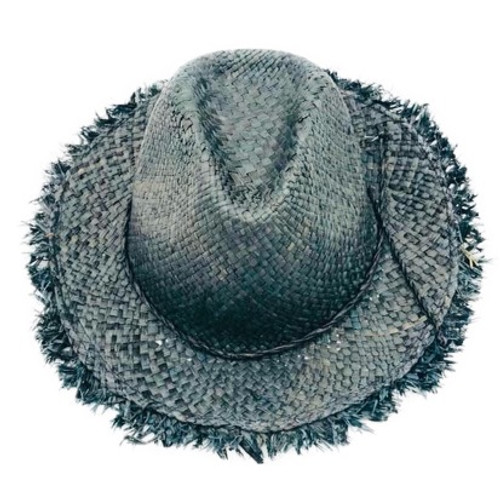 Black. Handcrafted in Madagascar. Handwoven from natural fiber raffia or sisal & hand dyed. One size, but has adjustable sizing sting on external brim.