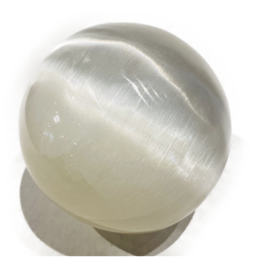 """Solid 4.25"""" Selenite crystal sphere. Purification stone"""
